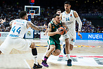 Real Madrid Jeffery Taylor and Gustavo Ayon and Panathinaikos Mike James during Turkish Airlines Euroleague Quarter Finals 3rd match between Real Madrid and Panathinaikos at Wizink Center in Madrid, Spain. April 25, 2018. (ALTERPHOTOS/Borja B.Hojas)