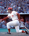 Cincinnati Reds Johnny Bench (5) in action during a game at Riverfront Stadium, in Cincinnati, Ohio. Johnny Bench played from 1968-1983, all with the Cincinnati Reds. Johnny Bench was inducted to the Baseball Hall of Fame in 1989.
