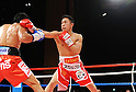 (R-L) Takahiro Aou (JPN), Terdsak Kokietgym (THA),.APRIL 6, 2012 - Boxing :.Takahiro Aou of Japan in action against Terdsak Kokietgym of Thailand during the WBC super featherweight title bout at Tokyo International Forum in Tokyo, Japan. (Photo by Mikio Nakai/AFLO)