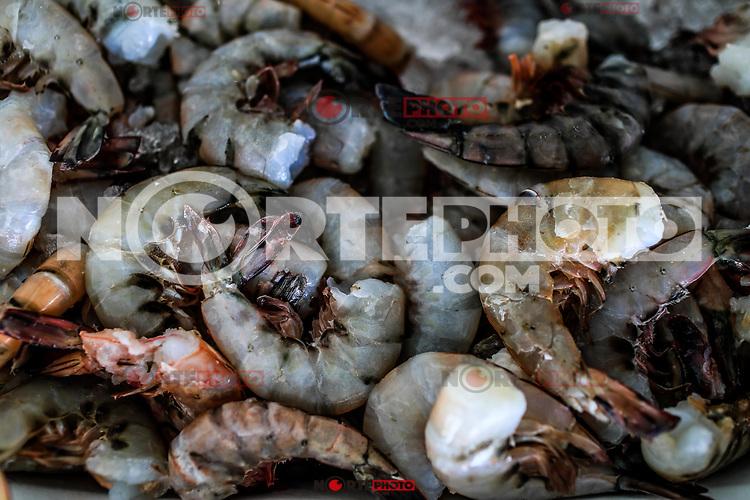 Sale of shrimps, fish, seafood from the sea. Sea food. market of the tourist destination Puerto Peñasco, Sonora, Mexico .. (Photo: Luis Gutierrez /NortePhoto.com)<br /> Venta de camaron, pescado, mariscos de la pesca del dia.comida del mar.  mercado del destino turistico Puerto Peñasco, Sonora, Mexico..