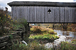 Detail image at Fitches Covered Bridge, (1885, restored 2002) that carries Basin Fitches Bridge Road, over the West Branch of Delaware River, in Delhi, NY, on Thursday, October 23, 2014. Photo by Jim Peppler. Copyright Jim Peppler 2014.
