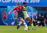REIMS, FRANCE - JUNE 08: Maren Mjelde #6 fights for the ball with Desire Oparanozie #9 during a game between Norway and Nigeria at Stade Auguste-Delaune on June 8, 2019 in Reims, France.
