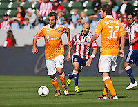 CARSON, CA - March 11, 2012: Houston Dynamo midfielder Adam Moffat (16) during the Chivas USA vs Houston Dynamo match at the Home Depot Center in Carson, California. Final score Houston Dynamo 1, Chivas USA 0.