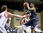 SIOUX FALLS, SD: MARCH 22: Gokul Natesan #31 from Colorado Mines eyes the basket in the lane against Bellarmine during the Men's Division II Basketball Championship Tournament on March 22, 2017 at the Sanford Pentagon in Sioux Falls, SD. (Photo by Dave Eggen/Inertia)