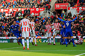 4th November 2017, bet365 Stadium, Stoke-on-Trent, England; EPL Premier League football, Stoke City versus Leicester City; Vincente Iborra of Leicester City shoots to score the opening goal of the game in the 33rd minute to make it 1-0 to Leicester