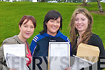DELIGHTED: Louise Hickey and Elaine Hickey, Knocknagree, and Linda Brosnan, Rathmore, celebrate after receiving their Leaving Cert results at Pobal Scoil Sliabh Luachra, Rathmore, on Wednesday...