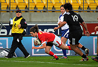 Elissa Alarie scores during the 2017 International Women's Rugby Series rugby match between the NZ Black Ferns and Canada at Westpac Stadium in Wellington, New Zealand on Friday, 9 June 2017. Photo: Dave Lintott / lintottphoto.co.nz
