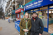 Helen Kay with Little Venice Fish Bar owner Yaquub Aiobi.  Westbourne Parade after shopfront, pavement and street furniture improvement scheme.