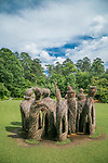 """The Big Easy"" sculpture by Patrick Dougherty located on the south lawn of the Gardens."