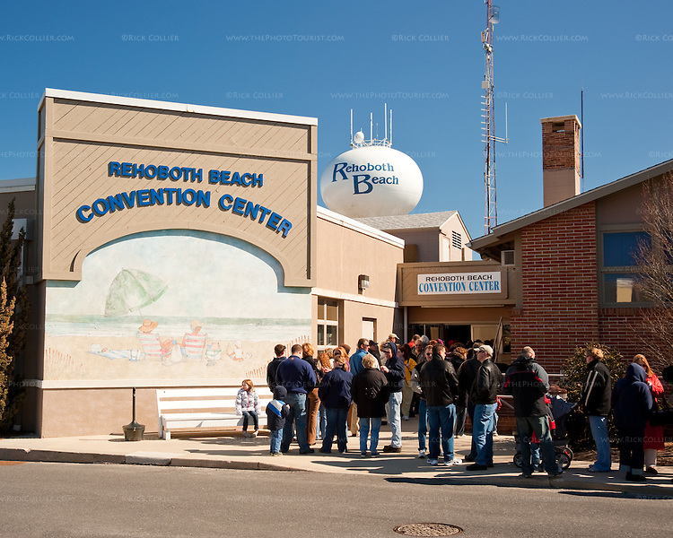 On the morning of the annual Chocolate Festival, a large crowd congregates in a line leading from the Rehoboth Beach Convention Center and down the street in front of the Municipal Building and the Fire Station.
