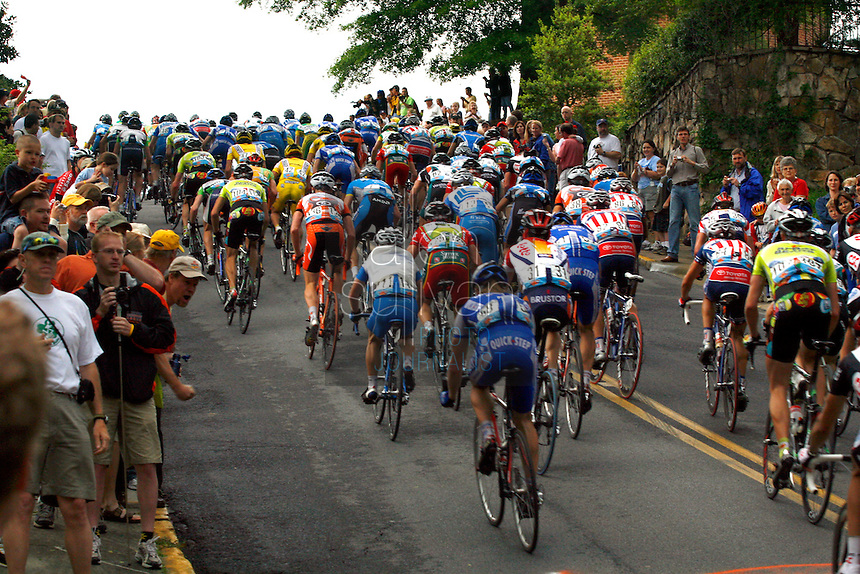 The peloton climbs East Second Street, known as &quot;Clocktower Hill,&quot; during Stage 2 of the 2006 Ford Tour de Georgia. Yaroslav Popovych, a Discovery Channel Pro Cycling Team racer from Ukraine, won the 116.1-mile stage from Fayetteville to Rome in 4:47:39.<br />