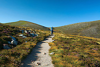 A walker climbing towards Cairn Lochan from Coire Cas, Cairngorm National Park, Badenoch & Speyside