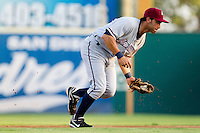 Anthony Seratelli (2) of the Northwest Arkansas Naturals fields a ground ball during a game against the South All-Stars 2011 in the Texas League All-Star game at Nelson Wolff Stadium on June 29, 2011 in San Antonio, Texas. (David Welker / Four Seam Images).