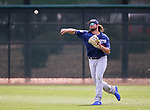 Dodgers' DJ Peters makes a play in a triple-A game against the Brewers in Glendale, Ariz., on Friday, March 15, 2019. <br /> Photo by Cathleen Allison/Nevada Momentum