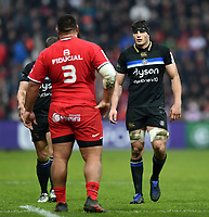 Josh Bayliss of Bath Rugby looks on during a break in play. Heineken Champions Cup match, between Stade Toulousain and Bath Rugby on January 20, 2019 at the Stade Ernest Wallon in Toulouse, France. Photo by: Patrick Khachfe / Onside Images