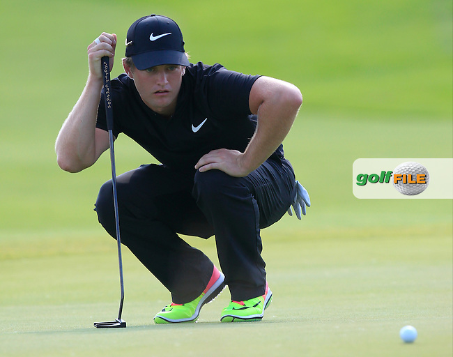 Tom Lewis (ENG) on the 18th green during Round 1 of the Made in Denmark 2016 at the Himmerland Golf Resort, Farso, Denmark on Thursday 25th August 2016.<br /> Picture:  Thos Caffrey / www.golffile.ie<br /> <br /> All photos usage must carry mandatory copyright credit   (&copy; Golffile   Thos Caffrey)