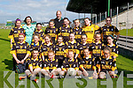 the Currow girls football gaa team are ready to taker on Duagh girels football team in Austinb Stack Park, Tralee on Wednesday. Fronbt l-r: Claire Brosnan, Rosier Scanlan, Ellie daly, Aoife O'Sullivan and Joyce O'Connor. 2nd row l-r: Rachel O'Connor, Paula FlemingmRowean Collier, Kathleen O'Sullivan, Gillian Hanifin, Molly O'Callaghan, Michaela Breen and Amy Galwey. 3rd row l-r: Joanne McCarthy, maregaret hanifin (principal), Niam,hg O'Connor, Fi?ona nelligan-Maguire, Kieran Hanafin(coach), Leona McEnery, Kerrie McCartrhgy, Aisling Moriarty and Hannah O'Connor.,