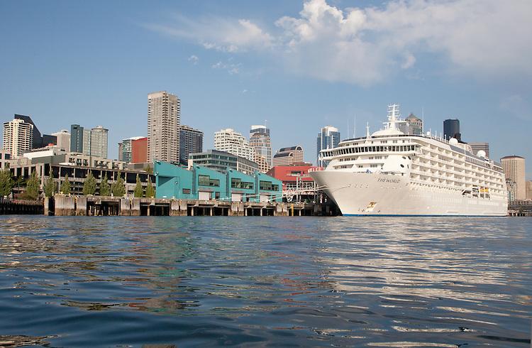 Seattle, Residensea cruise ship ?The World?, the around the world residence cruise ship at Port of Seattle, Elliott Bay, Puget Sound, Washington State, Pacific Northwest, USA,