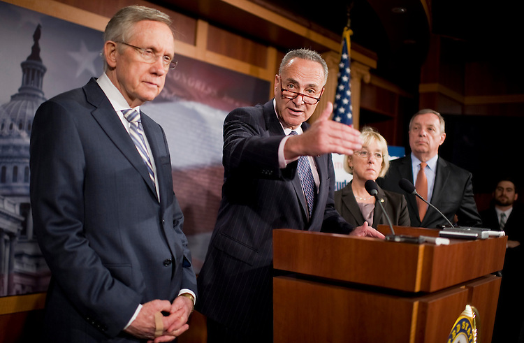 UNITED STATES - JULY 27:  From left, Senate Majority Leader Harry Reid, D-Nev., Sens. Charles Schumer, D-N.Y., Patty Murray, D-Wash., and Senate Majority Whip Richard Durbin, D-Ill., conduct a news conference in the Capitol criticizing the deficit reduction plan of Speaker John Boehner, R-Ohio.  (Photo By Tom Williams/Roll Call)
