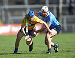 Podge Collins of Clare in action against Eoghan Conroy of Dublin during their National Hurling League game at Cusack Park. Photograph by John Kelly.