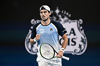 8th January 2020; Sydney Olympic Park Tennis Centre, Sydney, New South Wales, Australia; ATP Cup Australia, Sydney, Day 6; Croatia versus Argentina; Marin Cilic of Croatia versus Guido Pella of Argentina; Guido Pella of Argentina reacts after winning a point in his match against Marin Cilic of Croatia - Editorial Use