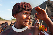 Xingu Indigenous Park, Mato Grosso, Brazil. Aldeia Matipu. Afiruata Matipu awaits the guests arriving.