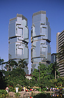 Hong Kong. China. Central District. Modern glass faced office tower, originally constructed as the Bond Centre.