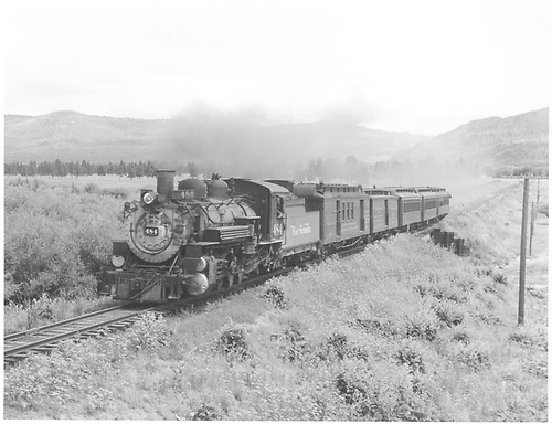 3/4 fireman side view of K-36 #484 hauling RPO, baggage car and 3 passenger cars.<br /> D&amp;RGW  w. of Chama, NM  Taken by Richardson, Robert W. - 7/22/1949