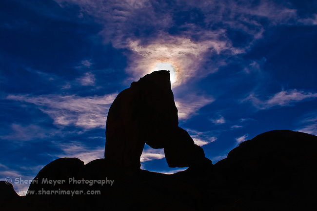 Silhouette of an arch in the Alabama Hills, Eastern Sierra, California