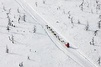 Aerial of Karen Ramstead Team Headed to McGrath Chkpt 2005 Iditarod