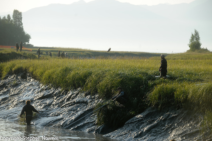 Dipnetting on Fish Creek near Wasilla, Alaska.