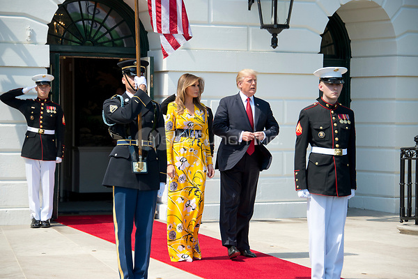 United States President Donald J. Trump and first lady Melania Trump wait to welcome Prime Minister Narendra Modi of India to the White House in Washington, DC on Monday, June 26, 2017.<br /> Credit: Ron Sachs / CNP /MediaPunch