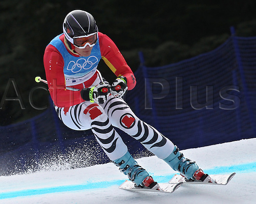 Maria Riesch of Germany in action during the second run of the Women`s Downhill training at the Vancouver 2010 Olympic Games, 15 February 2010 in Whistler, Canada. Photo: Karl-Joseph Hildenbrand /Actionplus. Editorial UK Licenses Only