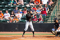 Cedric Mullins (11) of the Delmarva Shorebirds at bat against the Hickory Crawdads at L.P. Frans Stadium on June 18, 2016 in Hickory, North Carolina.  The Crawdads defeated the Shorebirds 1-0 in game one of a double-header.  (Brian Westerholt/Four Seam Images)