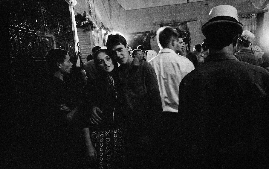 ROMANIA / Maramures / Barsana / July 2003..A couple at a traditional wedding. In Maramures, weddings are elaborate affairs which last through the night...© Davin Ellicson / Anzenberger....