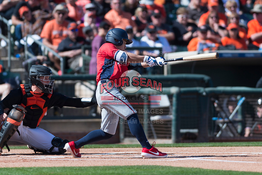 Gonzaga Bulldogs left fielder Isaac Barrera (17) swings at a pitch during a game against the Oregon State Beavers on February 16, 2019 at Surprise Stadium in Surprise, Arizona. Oregon State defeated Gonzaga 9-3. (Zachary Lucy/Four Seam Images)