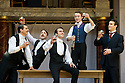 Blue Stockings by Jesscia Swale . A Shakespeare's Globe Production directed by John Dove. With Perri Snowdon as Holmes, Tommy Lawrence as Lloyd, Joshua Silver as Ralph,  Matthew Tennyson as Edwards, Luke Thompson as Will. Opens at Shakespeare's Globe Theatre  on 29/8/13  pic Geraint Lewis