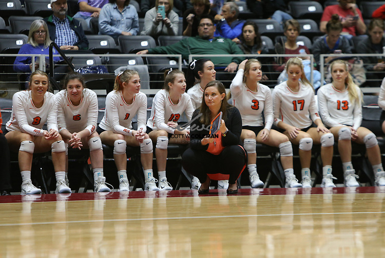 Aledo Bearcats head coach Claire Gay looks on from the bench area during a Class 5A girls high school semifinal volleyball game between Rouse High School and Aledo High School at Curtis Culwell Center in Garland, Texas, on November 17, 2017. Rouse swept Aledo (25-17, 27-25, 25-18) to advance to the finals.