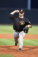 Quad Cities River Bandits pitcher Keegan Yuhl (35) delivers a pitch during a game against the Cedar Rapids Kernels on August 18, 2014 at Perfect Game Field at Veterans Memorial Stadium in Cedar Rapids, Iowa.  Cedar Rapids defeated Quad Cities 5-3.  (Mike Janes/Four Seam Images)
