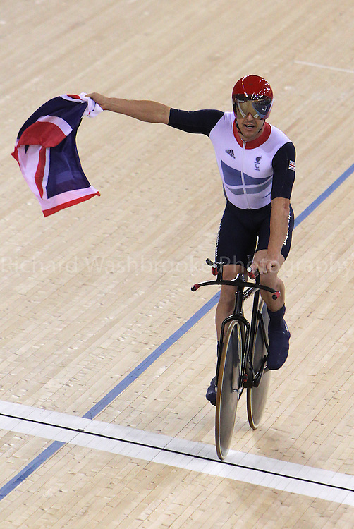 Paralympics London 2012 - ParalympicsGB - Track Cycling at the Velodrome  31st August 2012  .Mark lee Colbourne celebrates winning the Gold medal after competing in the Men's Individual C1 Pursuit Final at the Paralympic Games in London. Photo: Richard Washbrooke/ParalympicsGB