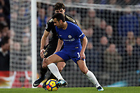 Pedro of Chelsea and Matthew James of Leicester city during Chelsea vs Leicester City, Premier League Football at Stamford Bridge on 13th January 2018