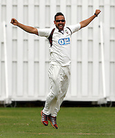 Paul Weekes of Hornsey celebrates after taking the wicket of Jack Brydon during the Middlesex Cricket League Division Two game between Shepherds Bush and Hornsey at Bromyard Ave, London on Sat Aug 1, 2015