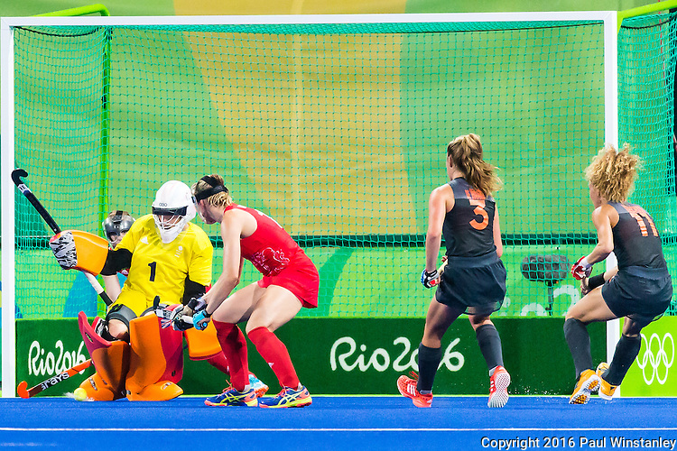 Maddie Hinch #1 of Great Britain makes a save during Netherlands vs Great Britain in the gold medal final at the Rio 2016 Olympics at the Olympic Hockey Centre in Rio de Janeiro, Brazil.