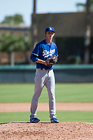 Los Angeles Dodgers relief pitcher Connor Mitchell (49) gets ready to deliver a pitch during an Instructional League game against the San Diego Padres at Camelback Ranch on September 25, 2018 in Glendale, Arizona. (Zachary Lucy/Four Seam Images)