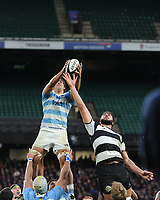 Pablo Matera (c) of Argentina outjumps Luke Jones of Barbarians (Bordeaux Begles & Australia) in the lineout during the Killik Cup match between the Barbarians and Argentina at Twickenham Stadium on Saturday 1st December 2018 (Photo by Rob Munro/Stewart Communications)