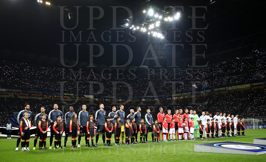 Football: UEFA Champions League -Group Stage - Group B - FC Internazionale Milano vs PSV Eindhoven, Giuseppe Meazza  (San Siro) Stadium, Milan Italy, December 11, 2018.<br /> Inter Milan and PSV Eindhoven teams line up prior to the start of of the Uefa Champions League football match between Inter Milan and PSV Eindhoven at Giuseppe Meazza  (San Siro) Stadium in Milan on December 11, 2018. <br /> UPDATE IMAGES PRESS/Isabella Bonotto
