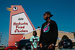 "Rap producer Mike WiLL Made It with producer Marquel ""Marz"" Middlebrooks outside of the Big Chicken, a 56 foot landmark in Marietta, Georgia, attached to a Kentucky Fried Chicken October 4, 2012."