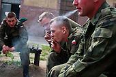 Cigarette break for Polish soldiers at the military base in Bartoszyce, Poland, May 2008.<br /> (Photo by Piotr Malecki / Napo Images)<br /> Ostatni pobor.Przerwa na papierosa w jednostce w Bartoszycach.5/2008.<br /> Fot: Piotr Malecki / Napo Images