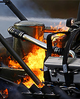 Mar 15, 2014; Gainesville, FL, USA; Detailed view of fire as NHRA top fuel dragster driver Pat Dakin explodes an engine in flames during qualifying for the Gatornationals at Gainesville Raceway Mandatory Credit: Mark J. Rebilas-USA TODAY Sports
