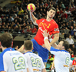 25.01.2013 Barcelona, Spain. IHF men's world championship, Semi-final. Picture show Alberto Entrerrios in action during game between Spain vs Slovenia at Palau St. Jordi